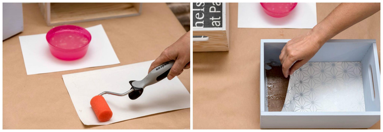 C mo decorar cajas de madera con papel pintado cristina - Cajas madera leroy merlin ...